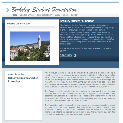 Site I created for Berkeley Student Foundation