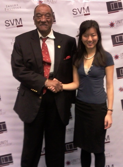 Shaking hands with the US Ambassador before the event began