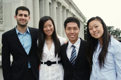 The Student Action Team. From left (Noah for President, Nanxi for Executive VP, Bundit for External VP, Yoori for Academic VP)
