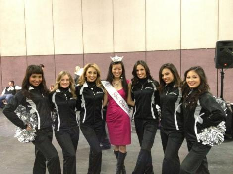 With the Oakland Raiders' girls before the parade