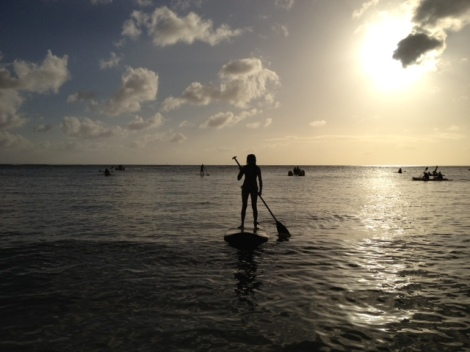 A picture my dad took of me paddle boarding