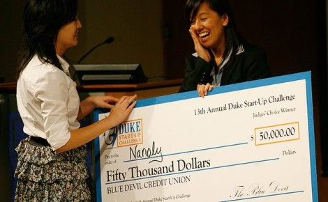 Our teammate Ting-Ting receiving our huge check! Photo Credit: Sophia Palenberg / The Chronicle