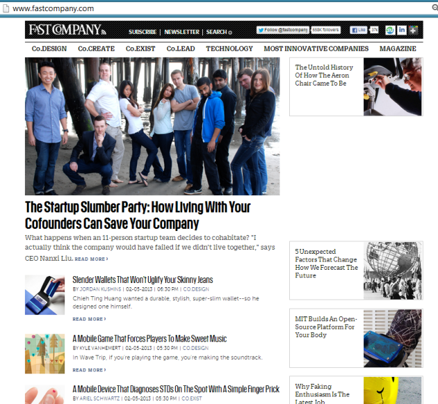 Fast Company Article Front Page screenshot
