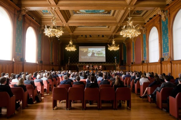 The main conference room where the speakers presented