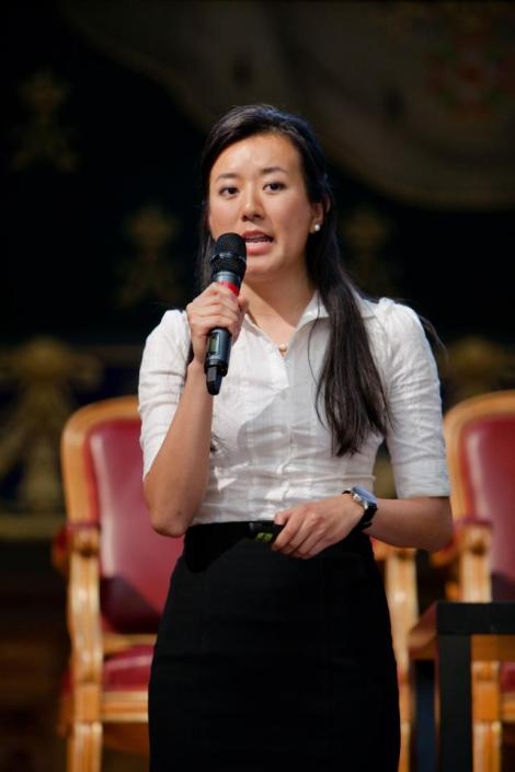 Speaking on stage