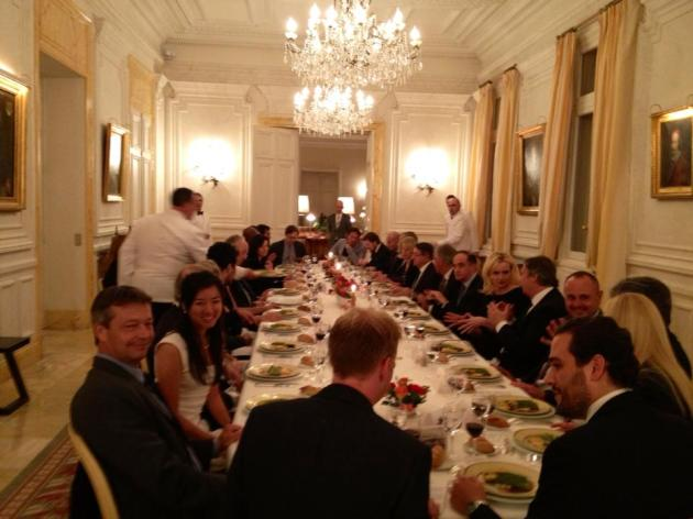 Dinner with the Prime Minister of Monaco at his house/mansion/palace