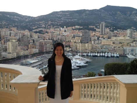 Standing on the balcony of the Prime Minister's home with a great view of Monaco behind me.