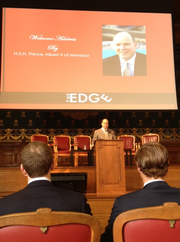 Listening to Prince Albert speak at the conference.