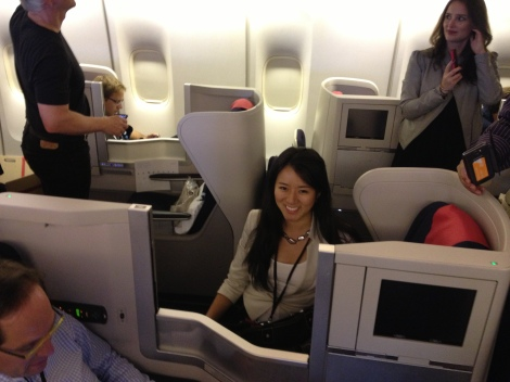 My private area on the plane in business first class