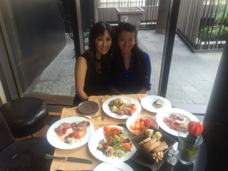 Sabrina and I eating a big breakfast in the Bvlgari Hotel in Milan.